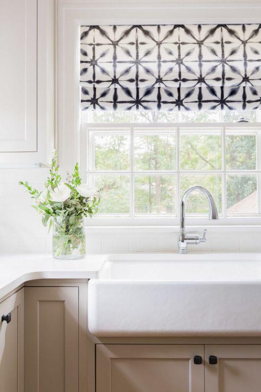 Graphic Roman Shades Over Kitchen Window