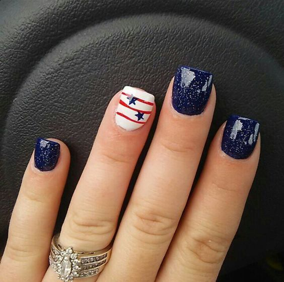 Navy | DIY July 4th Nails for Kids