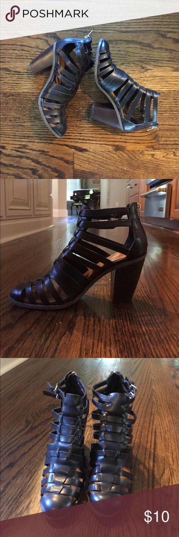Black Chunky Gladiator Heels Worn a few times. Heel is about 3 inches. Zipper at back of heel, and two buckles in the side of ankle. Urban Outfitters Shoes Heels