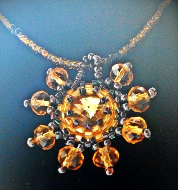 HANDMADE Golden Sun pendant necklacewith rivoli crystal by ImolArt