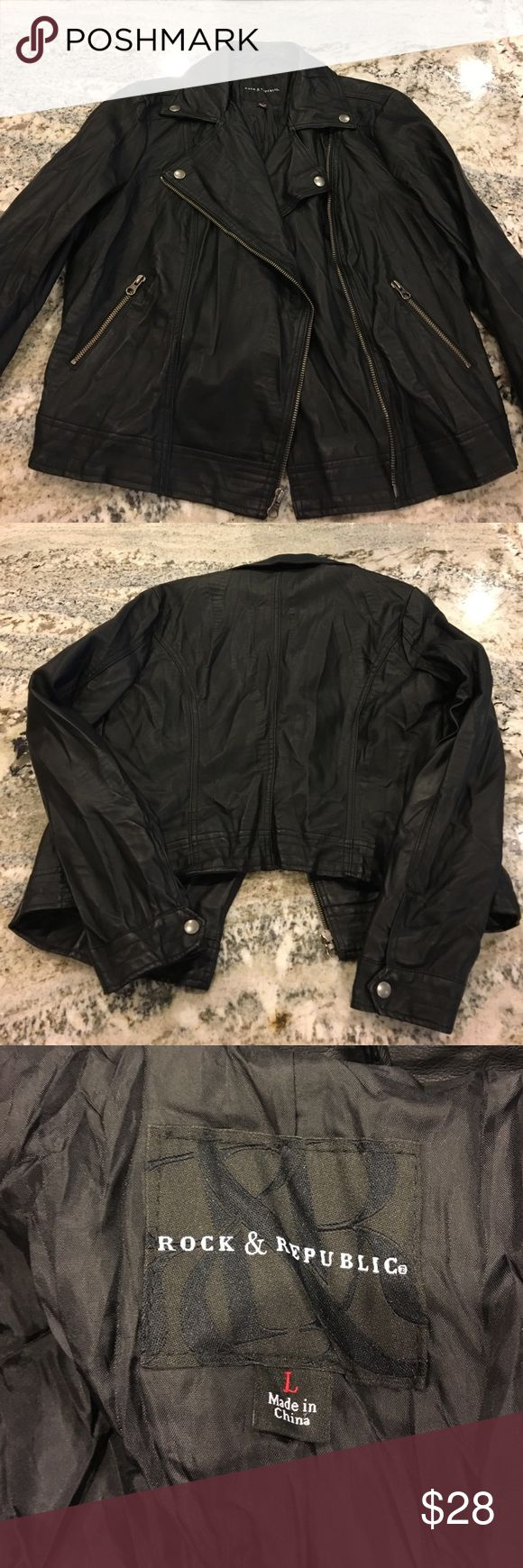 SALE 🎉 Rock & Republic Faux Leather Jacket Super cute and very comfortable jacket, worn once for less than an hour. Excellent condition!! Rock & Republic Jackets & Coats