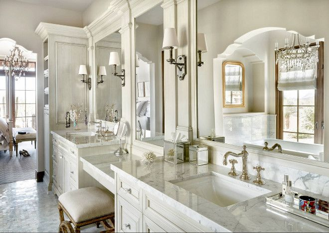 Charmant Traditional Bathroom, Classic Traditional Bathroom, Classic Bathroom With  Ivory White Cabinets And Polished Marble Countertop. Faucets Are By Rohl  Timeless ...