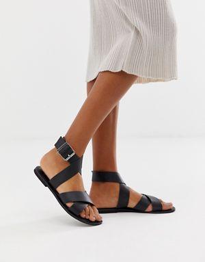 78504045584 asos design flossy leather cross strap flat sandals 10924035 1 black  XL   10924035 1 black  ASOS  Fashion  InsideScoop Trending  Styles   InspiredLooks ...