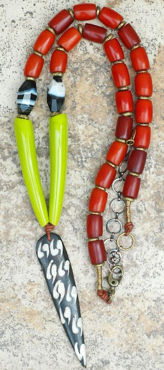 Lime Tusk Tribal Necklace: Long Amber, Lime, Leather and Batik Bone Arrowhead Tribal Necklace $175Click to Buy