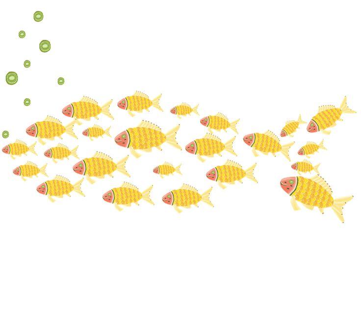 meyve şöleni - balık / the fruit feast - the fish / orange / lemon / kiwi / pear / banana / watermelon / pattern