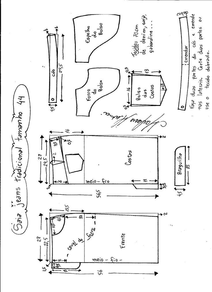 Esquema de modelagem de saia jeans tradicional tamanho 44.