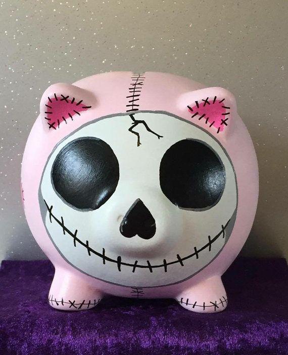 Skull Candy Pig Sugar Skull patch piggy by PigsMightFlyDesigns