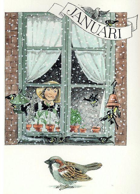 ❄Hiver❄ Janvier par Lena Anderson (1939) illustratrice suédoise. Son site : http://www.linneaimalarenstradgard.se/