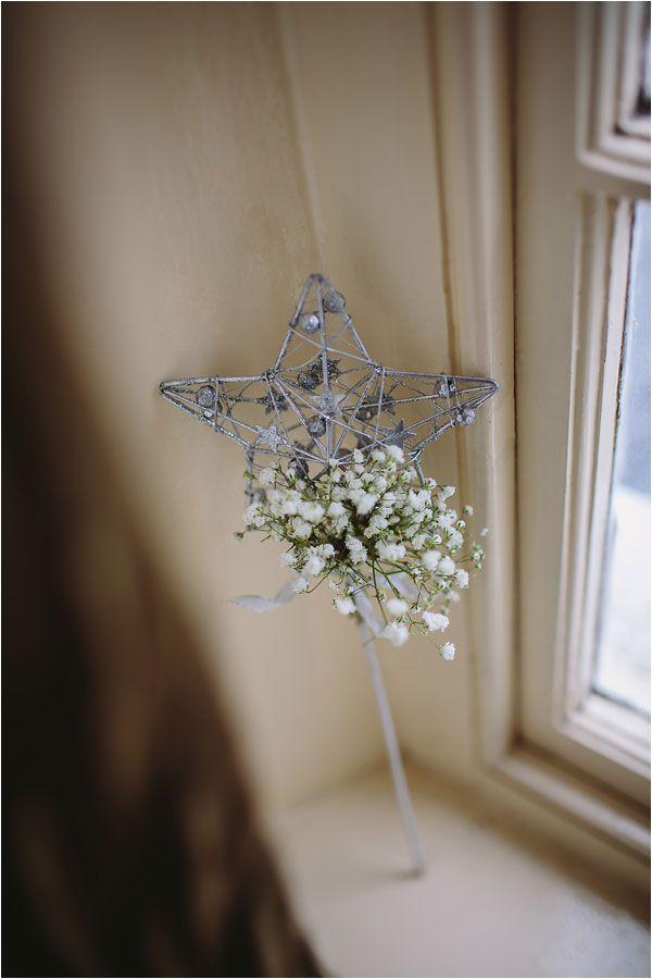 Flower girl & bridesmaid wand dainty white gypsophila detail www.pamelladunn.co.uk