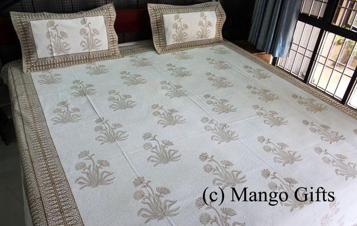 Indian Hand Block Print Cotton Bedspread Queen Flat Sheet With 2 Pillow Covers #Handmade #Asian