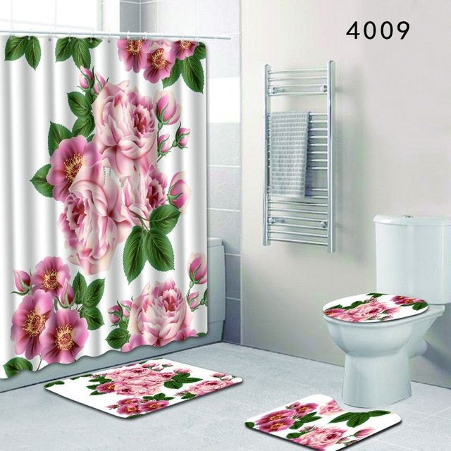 The 4 Sets Bathroom Carpet And Rug Shower Curtain Painted Flowers