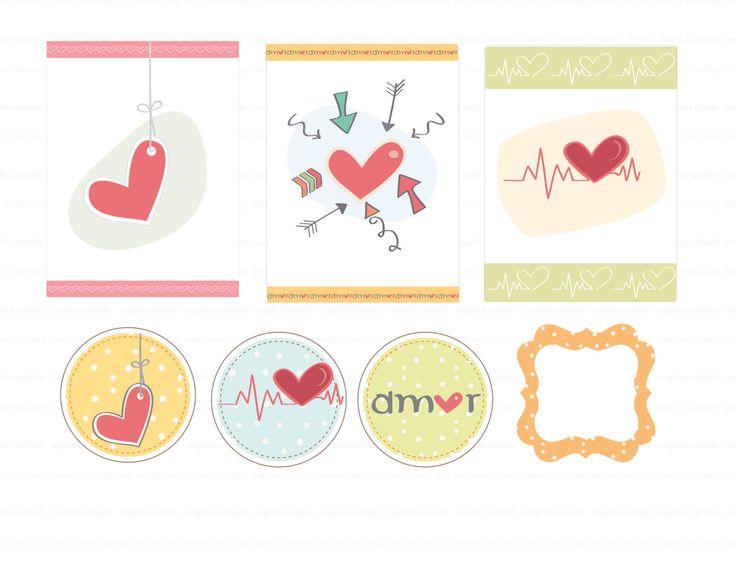 """Imprimible gratis par el día del amor y amistad, imprimible para project life, scrapbook o un diario...free printable Valentine's day.  Circles 2"""" and  ek punche"""