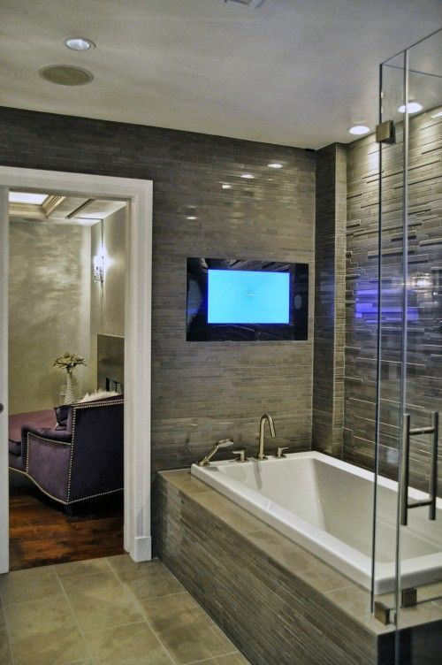 Add A Waterproof Tv To Transform Your Bathroom Into The Perfect Room For Relaxatio Contemporary Bathrooms Bathroom Remodel Master Contemporary Bathroom Designs