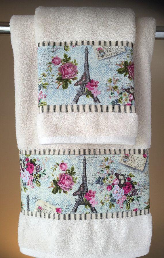 Paris Towel cream hand towels Vintage Paris. bathroom by AugustAve