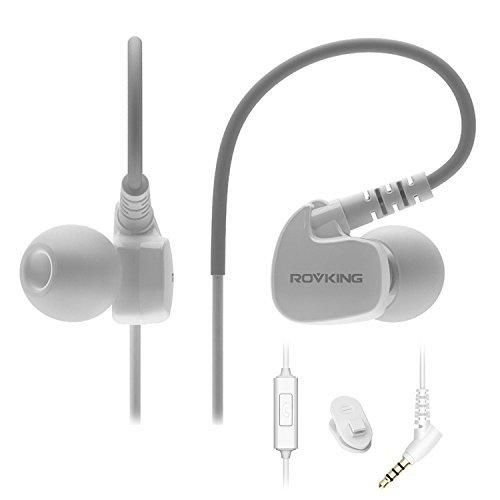 Rovking Sweatproof Sport Workout Headphones In Ear Bass Exercise Earpods with Remote and Mic Noise Sound Isolating Sports Earbuds for Running Gym Jogging Earphones for iPod iPhone Samsung HTC White