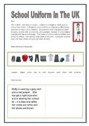 English Worksheets: School Uniform in the UK
