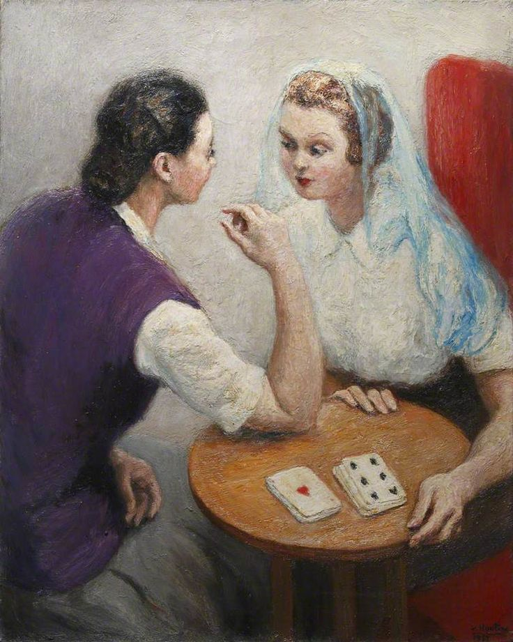 'Two Ladies Playing Cards' by Georges van Houten c. 1957
