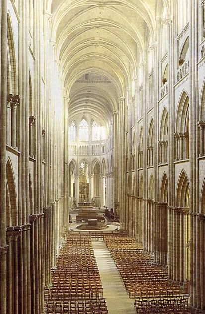 The 13th century nave of Rouen Cathedral, France