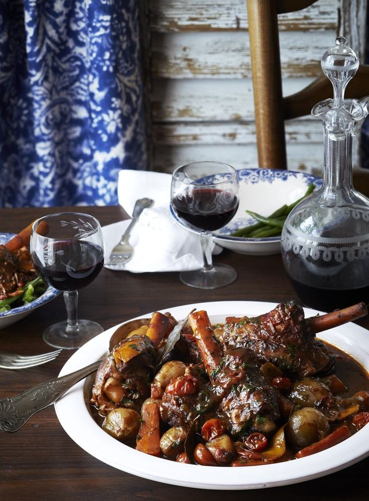 Cooked until they are fall-apart tender, lamb shanks are a full-flavoured but tougher cut of meat that need slow, gentle braising to transform them into a comforting winter meal. It can also be made up to two days ahead.