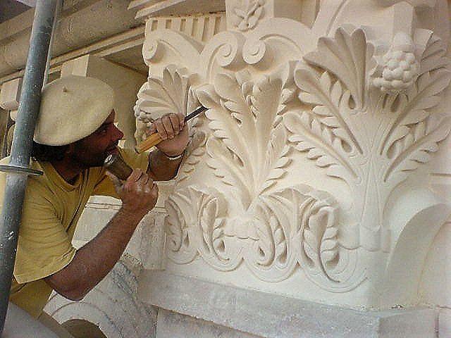 Monuments historiques, sculpture chapiteau, Perigueux, Cathédrale saint Front, France, Atelier de sculpture Romel