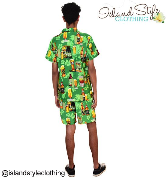 PARTY KITS - Green Beer Hawaiian Shirt & Shorts 'Cabana Set' Groovy Mens Hawaiian Shirt 'Blue Magnum' features beer bottles & mugs, flowers. Casual Friday, Beach party, luau, schoolies or fab tropical uniforms. Aloha Friday.