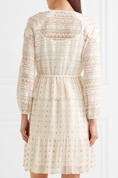 Temperley London - Wondering Lace-paneled Fil Coupé Georgette Dress - White