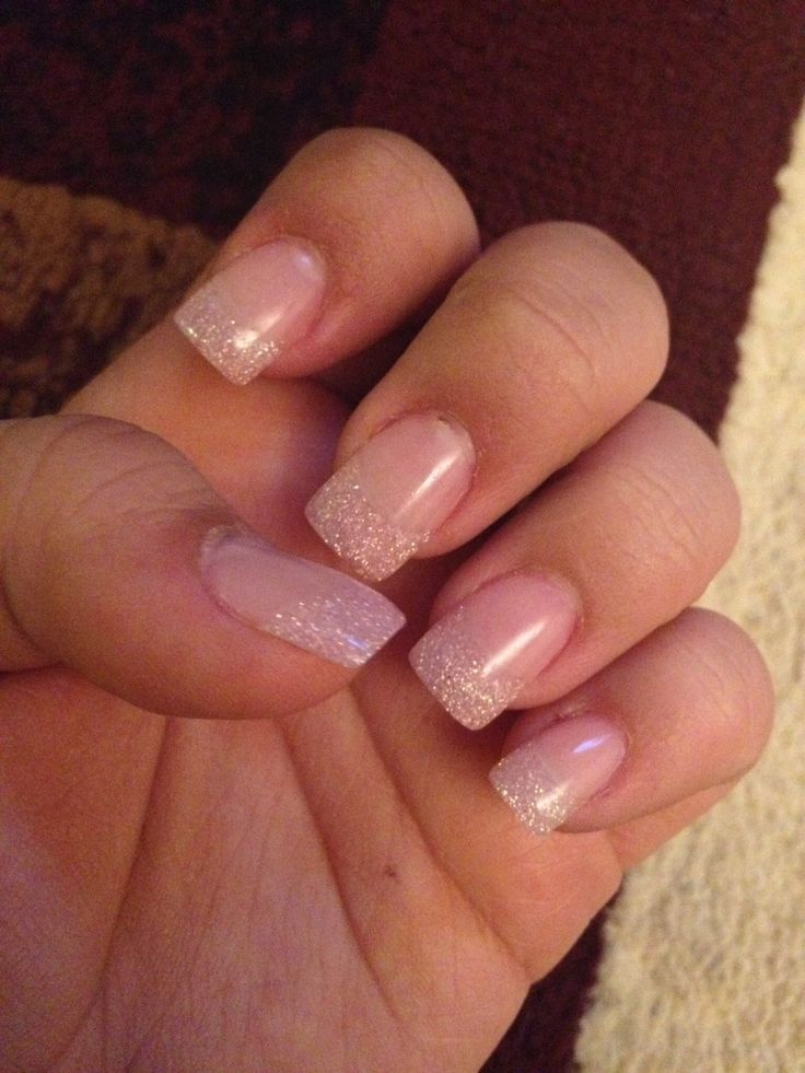 Square pink sparkle gel nails! For stubby fingers