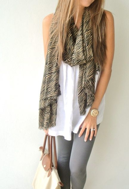 cute outfit with a scarfFashion Scarves, Casual Outfit, Style, White Shirts, Casual Looks, Travel Outfit, Cute Outfit, Grey Jeans, Grey Legs