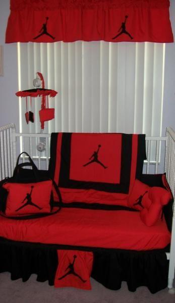 MICHAEL JORDAN Red and Black Crib Bedding Set, Mobile, Diaper Bag
