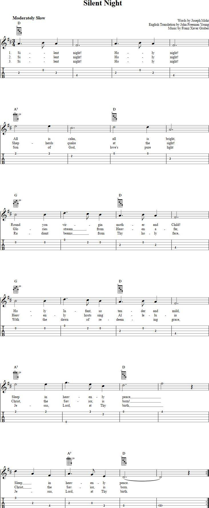 Free Bluegrass Banjo Sheet Music - silent night banjo tabulaturytablaturetabtabs bluegrass ...