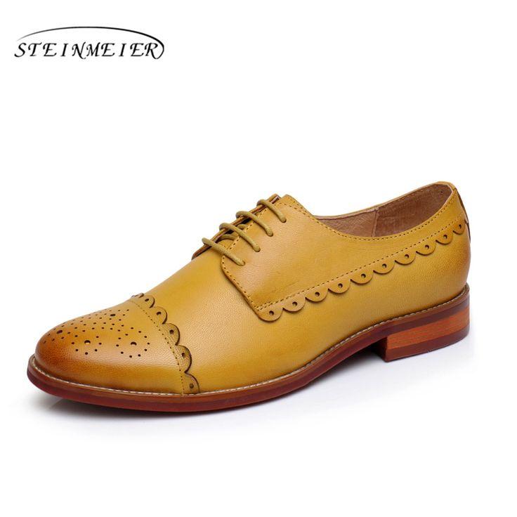 Women natrual sheepskin leather yinzo flat oxford shoes us 9 vintage carving handmade orange red yellow oxford shoes for women-in Women's Flats from Shoes on Aliexpress.com | Alibaba Group
