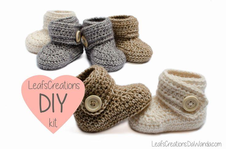 DIY+kit+/+Häkeln+kit+baby+boots+schuhe++von+LeafsCreations+auf+DaWanda.com