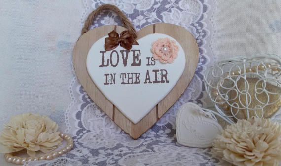 Wooden heart with message hanging heart decor for by Rocreanique on Etsy