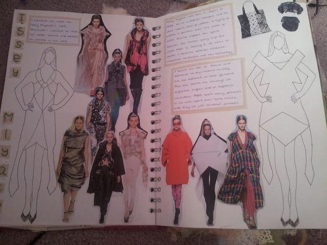 Fashion Sketchbook - geometric fashion design drawings & research; fashion student sketch book