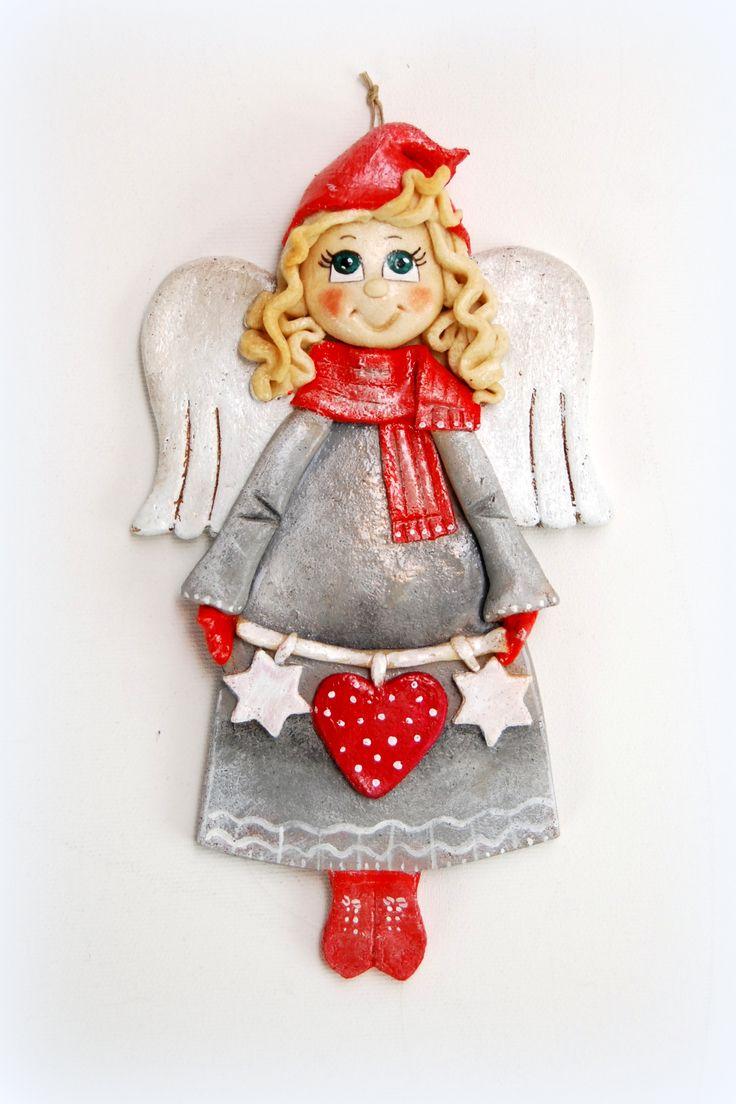 Anioł Z Masy Solnej, Anioł świąteczny, Boże Narodzenie, Salt Dough Angel,  Christmas
