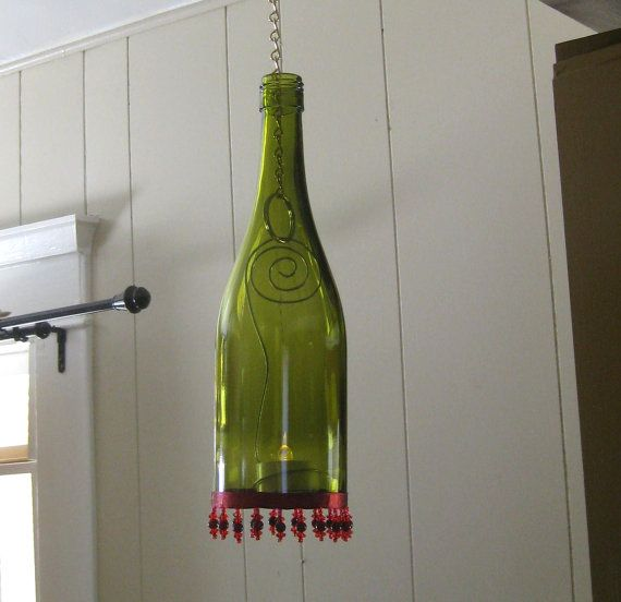 Recycled Wine Bottle Lantern/Candle Holder by WineDeLights on Etsy, $23.00