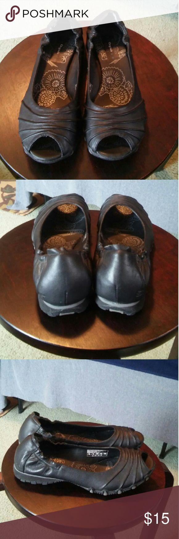 Skechers black leather slip on size 9 Euc cute Skechers bikers worn twice no scuffs Skechers Shoes Flats & Loafers