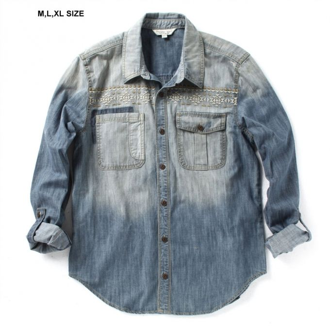 Denim shirt Long sleeve Roll up 2 Chest pockets Button down front Vintage washed front Embroidered front and back