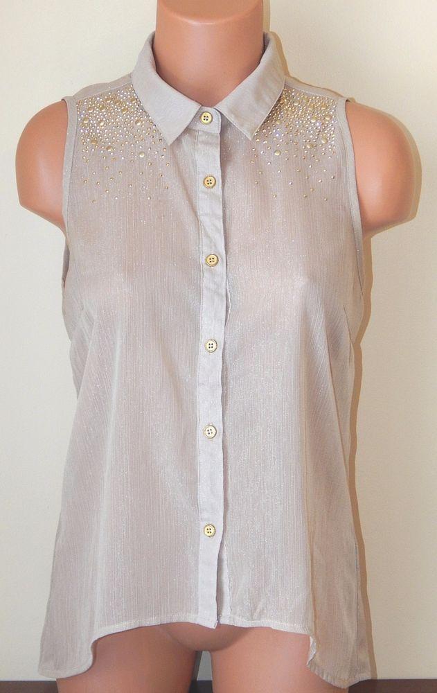 Charlotte Russe Sleeveless Blouse Semi-sheer Shimmer Gold Studs Junior's M EUC #CharlotteRusse #ButtonDownShirt #Clubwear