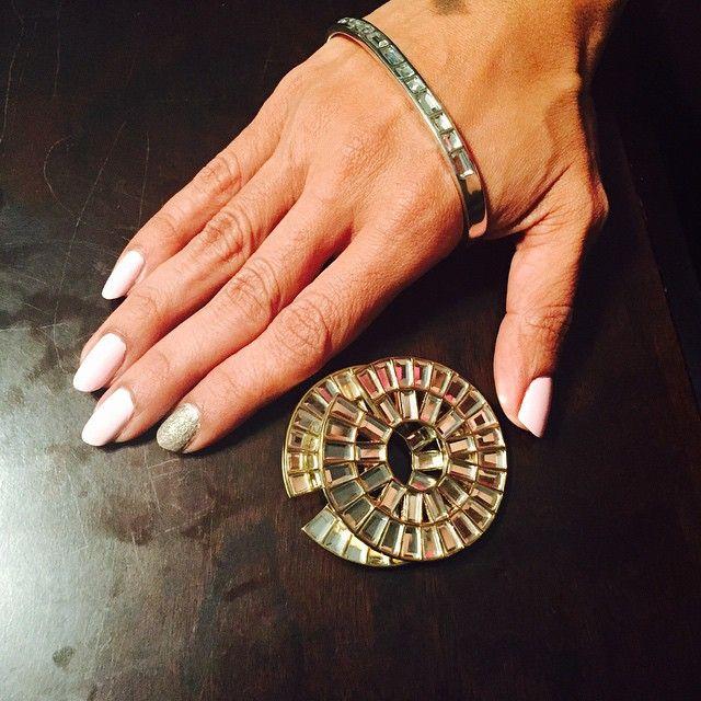 @realvidya with ISHARYA's Disco mirror palm cuff and icon statement earrings