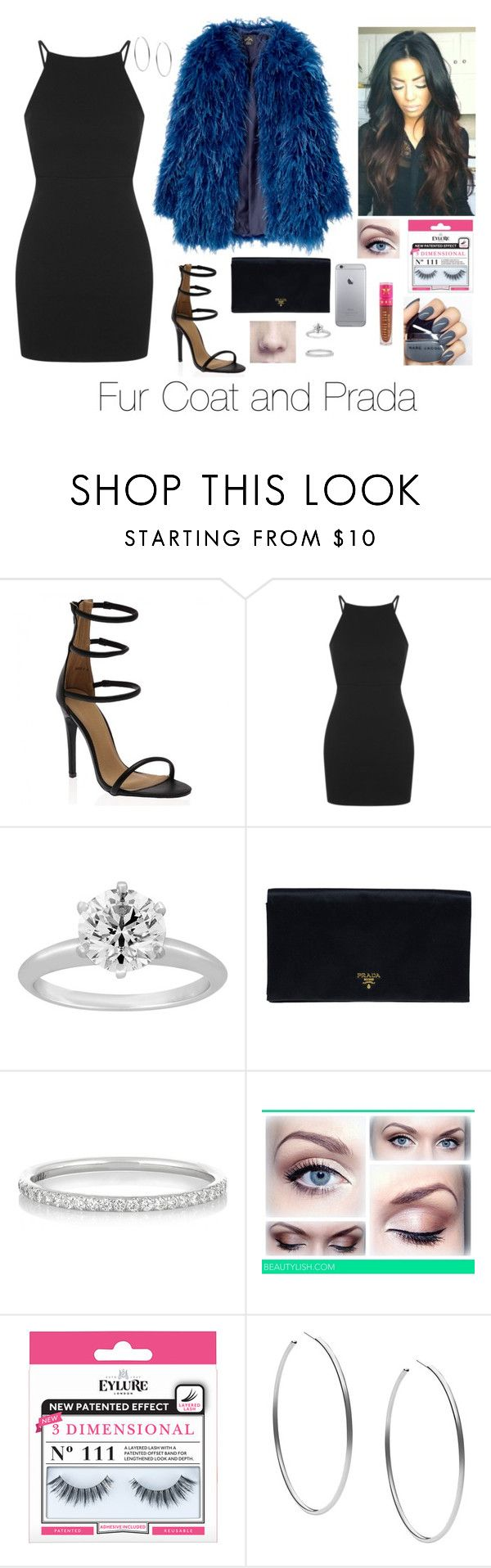 """Fur Coat and Prada"" by brenda-all-over ❤ liked on Polyvore featuring Topshop, Tiffany & Co., Prada, Ileana Makri, eylure, Michael Kors, Jeffree Star, Sexy, clubbing and eyemakeup"