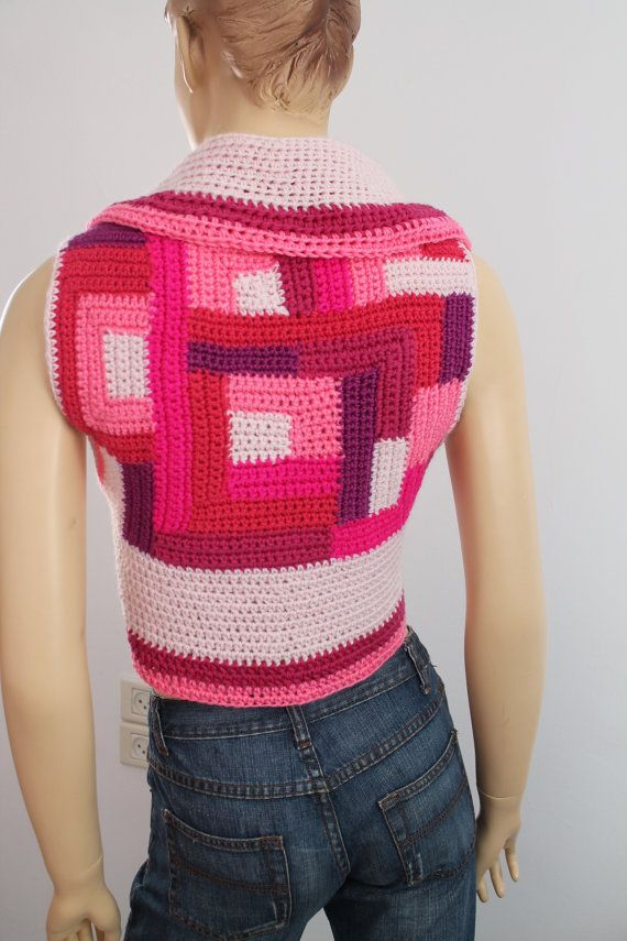 30% OFF 0nly this month Patchwork  Pink Crochet by levintovich