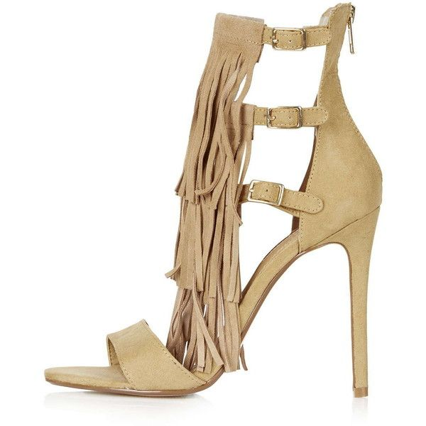 TOPSHOP RONNIE Fringe High Heel Sandals (805 SEK) ❤ liked on Polyvore featuring shoes, sandals, camel, strappy sandals, camel sandals, topshop sandals, leather heel sandals and strap sandals