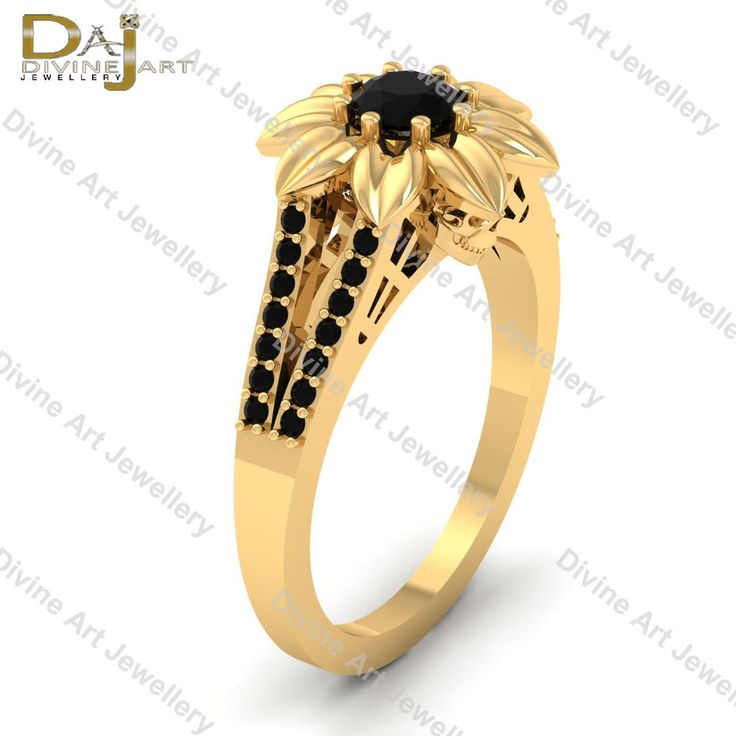 Deathly Gothic Flower Skull Black Diamond Engagement Ring Solid 14k Yellow Gold #DAJ #SolitairewithAccents #Wedding