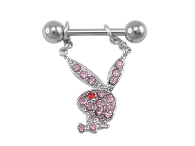 Surgical Steelsurgical Steel & Rhodium Plated Pink & Red Crystal Playboy Bunny Nipple Bar 1.6x11x6