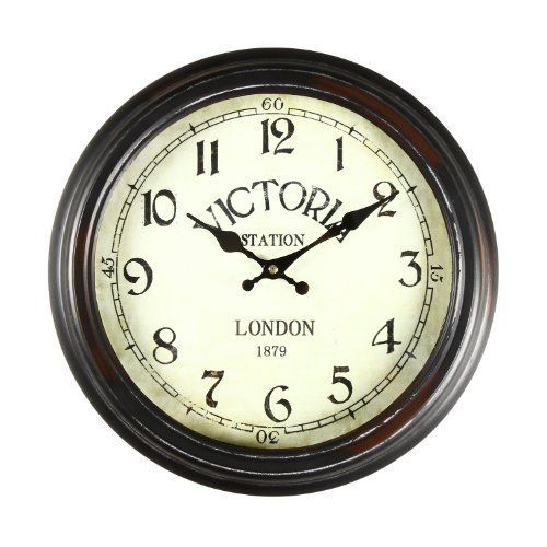 """Adeco 14""""~15"""" Black and Brown Antique-Look Dial Decorative Vintage Retro Traditional Wall Hanging """"Victoria Station"""" Circle Iron Clock, Arabic Arab Numerals Numbers, Silent Battery Quartz, Home Office Decor  #14~15 #Adeco #AntiqueLook #Arab #Arabic #Battery #Black #Brown+ #circle #Clock #Décor #Decorative #Dial #Hanging #Home #Iron #Numbers #Numerals #Office #Quartz #Retro #RusticWallClock #Silent #Station #Traditional #Victoria #Vintage #Wall The Rustic Clock"""