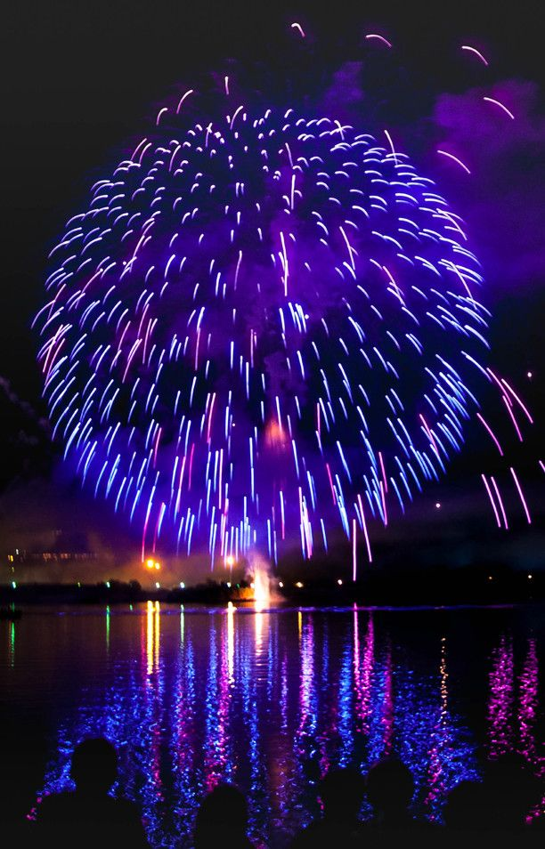 Bacoli, Bacoli, Italy - Fireworks at Miseno lake