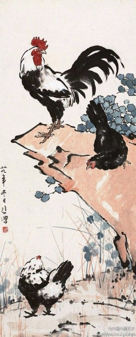 "[Xu Beihong ""three-Ji-Tu""] 1940. In Chinese painting, the Xu Beihong made ​​wide range of topics, figures, landscapes, flowers, birds and animals have success. This works through the full composition, rich content, images echo, coming a masterpiece."