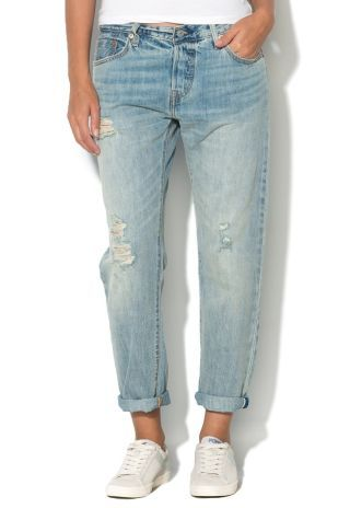 Jeans boyfriend dama rupti Levis cu prespalare