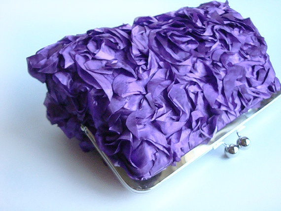 SALE Plum Ruffle Wedding Clutch Bridesmaid Gift by loliscreations, $38.00